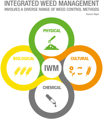 IWM involves a diverse range of weed control methods.